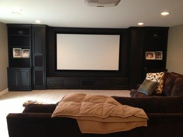 Projector Screen Basement Design Ideas, Pictures, Remodel and Decor