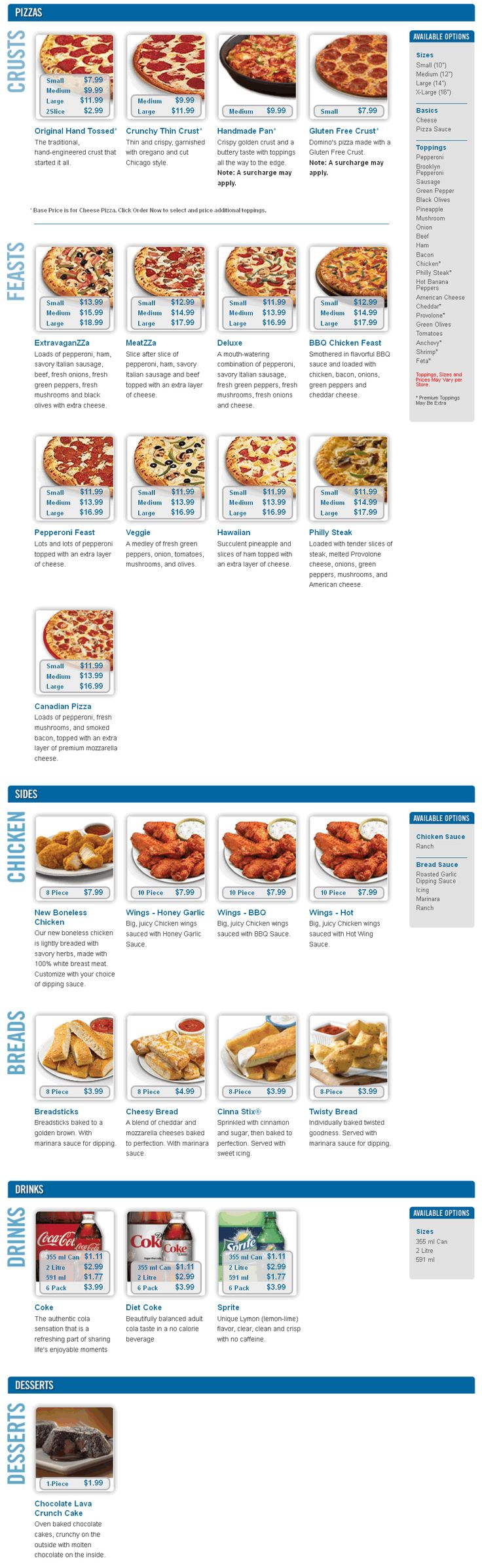Dominos Pizza Menu (Danforth Ave Location)