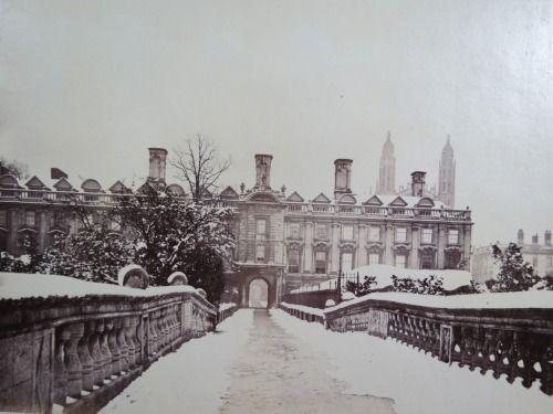 Clare College in winter. Cambridge University, England, ca. 1870. 'tisclassy