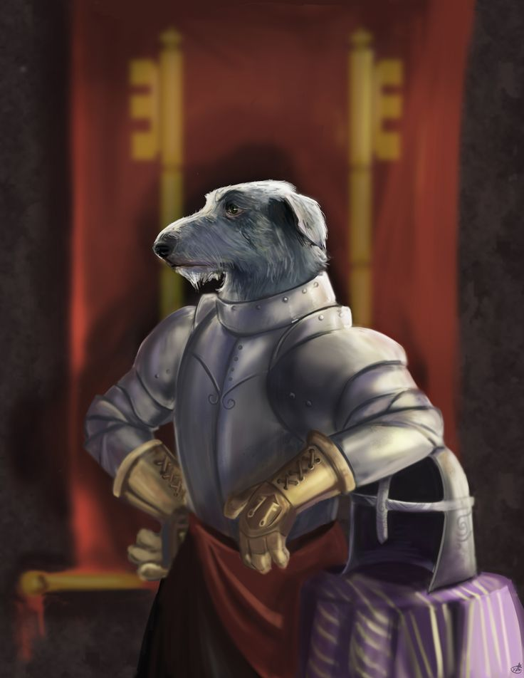 Sir Kay as a scottish deerhound. Digital Portrait by Kristen P Maslanka