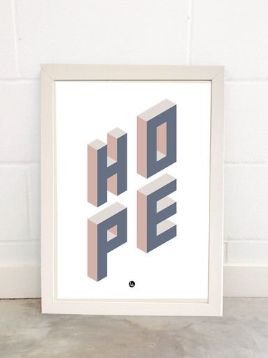 HOPE Art Print By Fimbis Available from East End Prints  #geometric #typography #neutral #3d #wallart #interiors #framed #homedecor #interiordesign #style #lettering