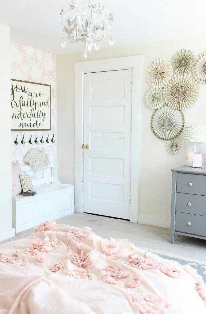 Love the little wall seat and hooks and grey dresser! So cute!