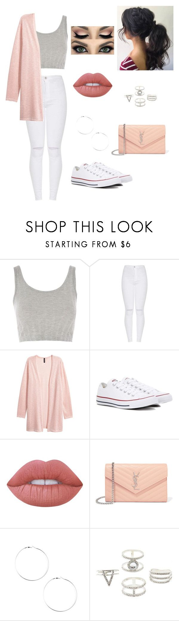 """Untitled #49"" by blossom03 ❤ liked on Polyvore featuring Topshop, Converse, Lime Crime, Yves Saint Laurent and Charlotte Russe"