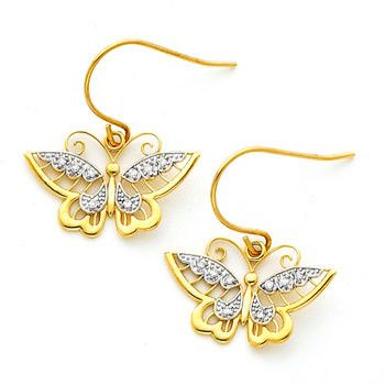 14K gold Two-tone Diamond Accent Butterfly Fish Hook Earrings