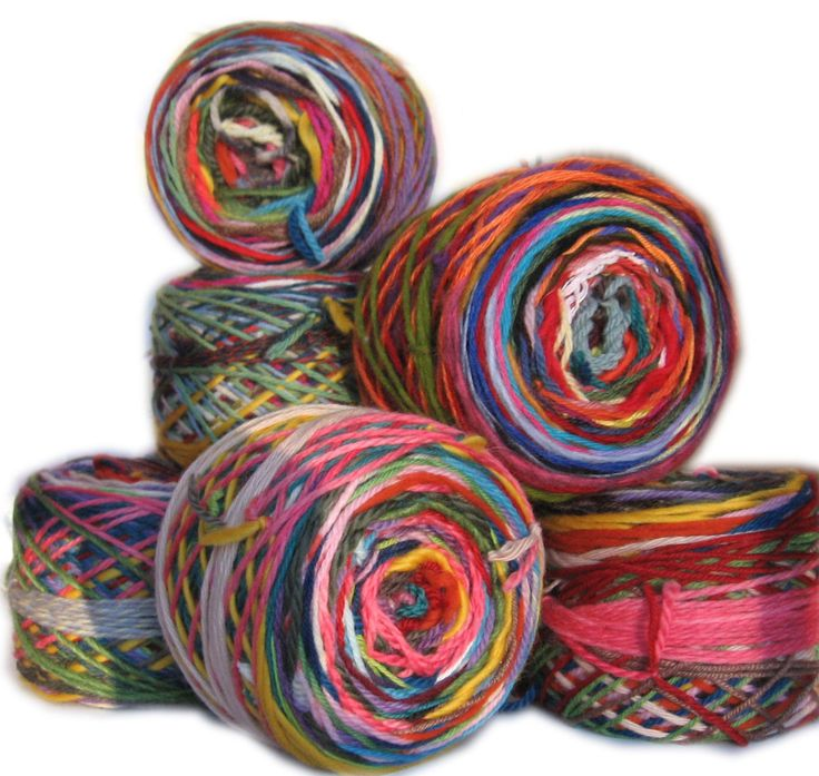 This is a big ball of scraps of various lengths, all knotted together to make a one-of-a-kind funky item.