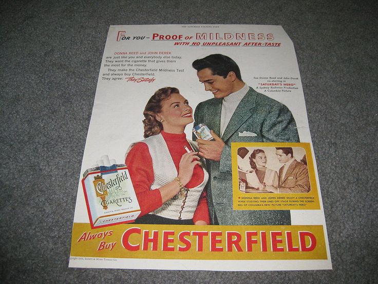 Vintage advertising - Chesterfield Cigarettes Donna Reed John Derek 1951 Large #Chesterfield
