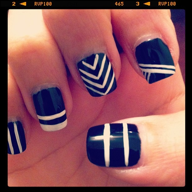 White stripes on black - simple quick easy nail art design (by maricellaa) - 154 Best Manis 2 Try - Black And White Images On Pinterest Nail