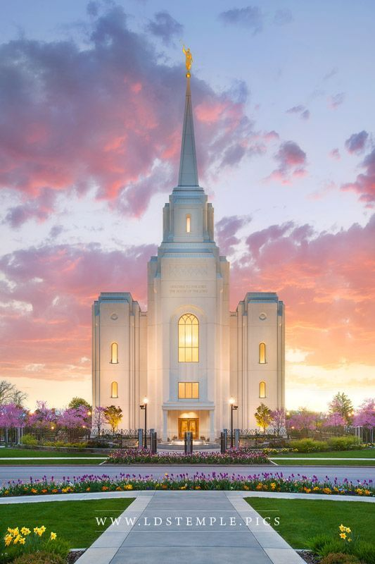 Brigham City Temple Life Renewed - A beautiful spring sunrise at the Brigham City Utah Temple.