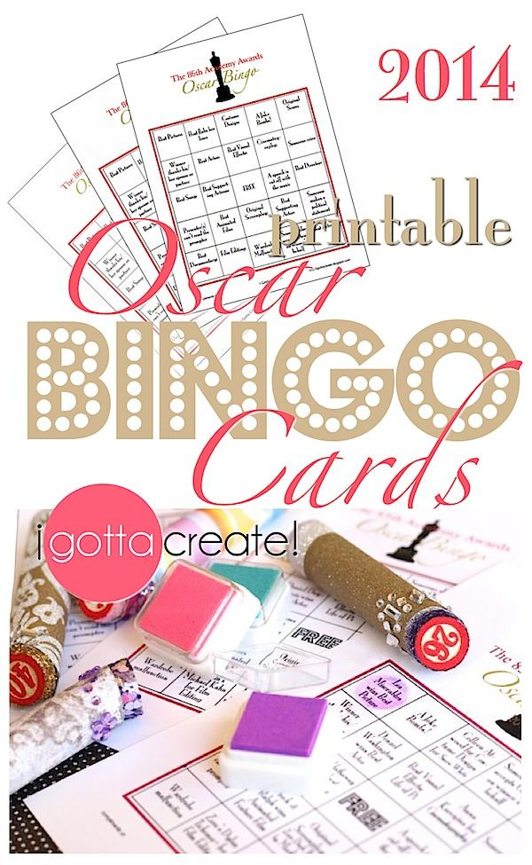Free printable Oscar Bingo Cards for your #academyawards watch party! | Compliments of I Gotta Create!