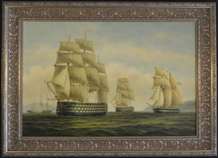 """Oil on Panel """"Ship of the Line USS Pennsylvania"""" by James Hardy III"""