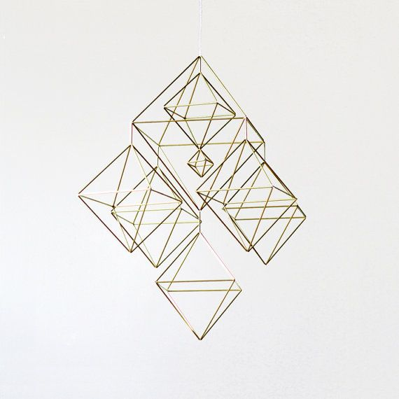 Large Himmeli No. 2 / Brass Straw / Modern Hanging Mobile / Geometric Sculpture / Minimalist Home Decor