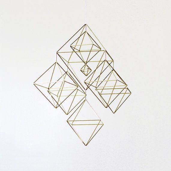 Large Himmeli No. 2 / Brass Straw / Modern Hanging Mobile / Geometric Sculpture / Minimalist Home Decor
