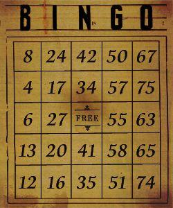 vintage bingo card dark