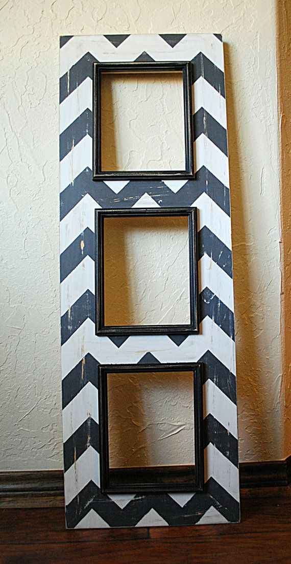 Multiple Picture Frame with 3 -8x10 Sizes, Charcoal Grey and White Wash Chevron with Black Trim