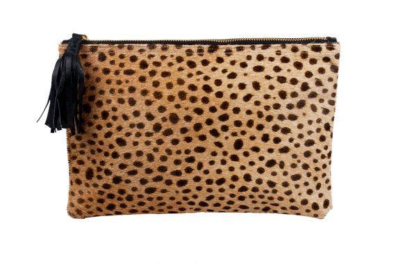 Pochette de leopard léopard embrayage, embrayage de Leopard, en cuir, sac Leopard, cheveux de veau Leopard