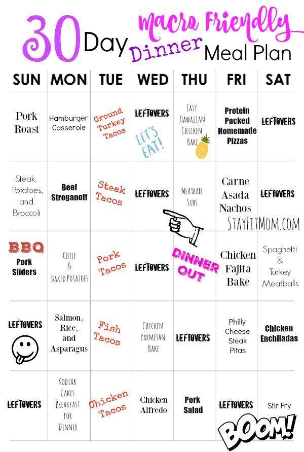 30 Day Macro Friendly {High Protein} Dinner Plan
