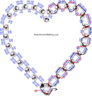 Beaded 3D Double Heart in Heart Charm