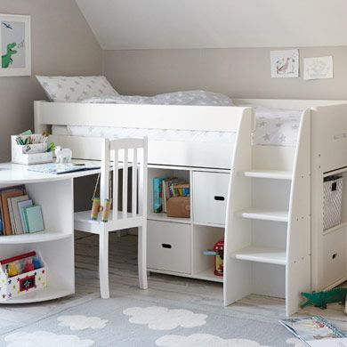 A dream bedroom starts with a great bed! A Merlin Mid Sleeper Bed combines Storage Units & Pull-out Desk.