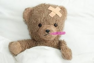 Sick teddy bear. He needs to be rushed to a Teddy Bear Hospital - stat!