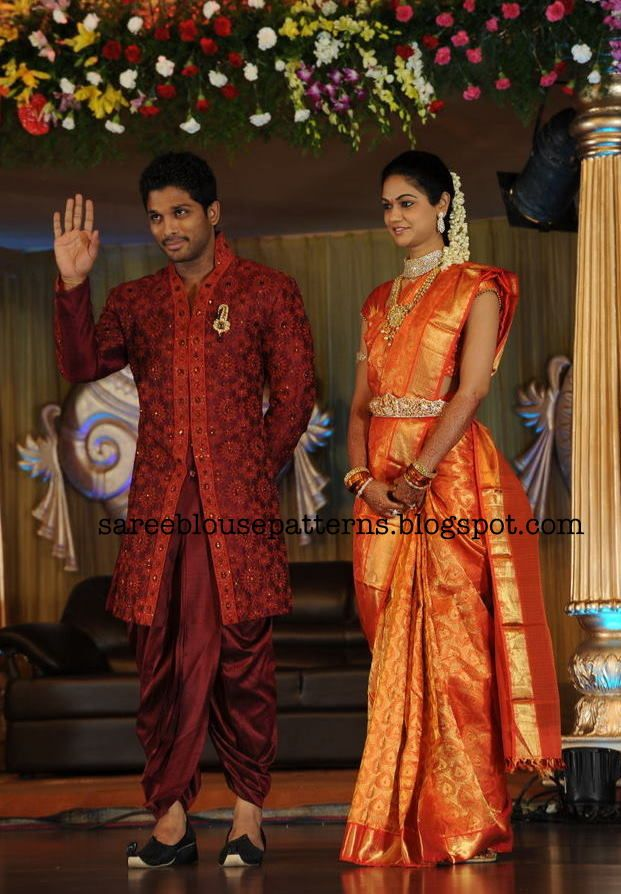 Sneha Reddy in Taditional Bridal Silk Saree At Her Wedding Reception Party
