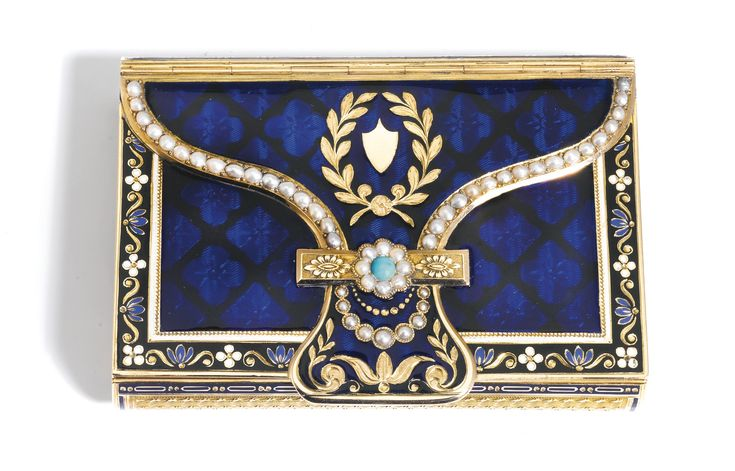 A JEWELLED PEARL, ENAMEL AND GOLD MUSICAL BOX, THE MOVEMENT BY PIGUET & MEYLAN, JEAN-GEORGE RÉMOND & CO, GENEVA, CIRCA 1810-1815