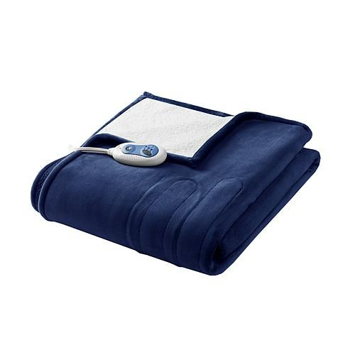 Woolrich Heated Plush-to-Berber Solid Knitted Microlight Oversized Heated Throw - Indigo