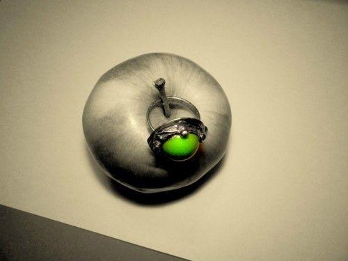 http://megasilver.pl/Pierscionek-p298 #ring #metalwork #handmade #green #howlite #stone #jewelry #apple