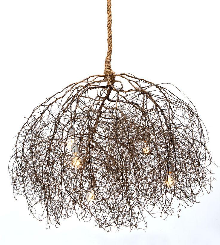 Rustic Handmade Light Fixture Twig Chandelier Branch: Large Native Tumbleweed Chandelier