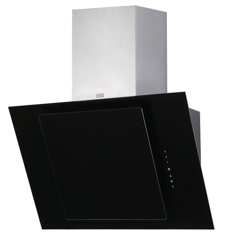 Cooke & Lewis CLTHAL60-C Angled Glass Cooker Hood, Stainless Steel | Departments | DIY at B&Q