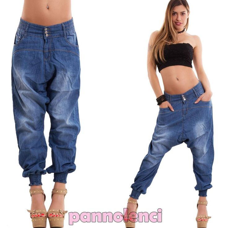 Jeans donna pantaloni cavallo basso harem sarouel turca larghi nuovi M-712