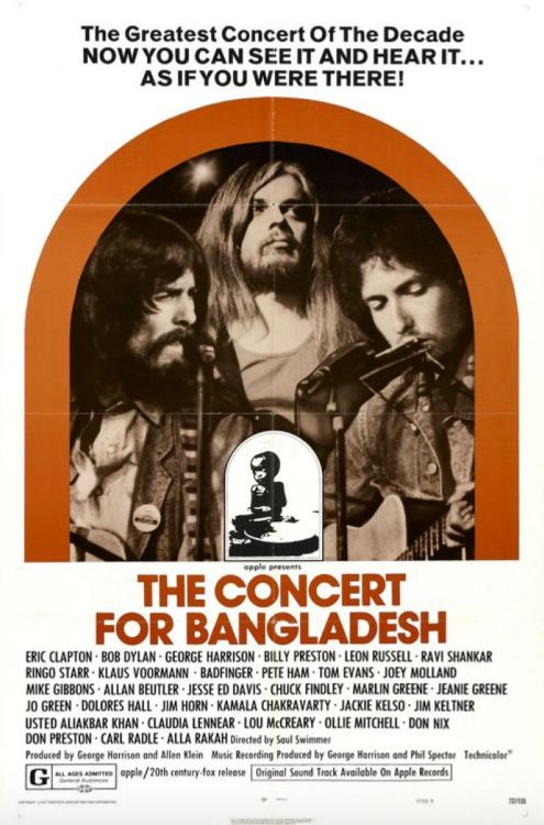 Movie poster for The Concert for Bangladesh (the film opened at The Rialto in London