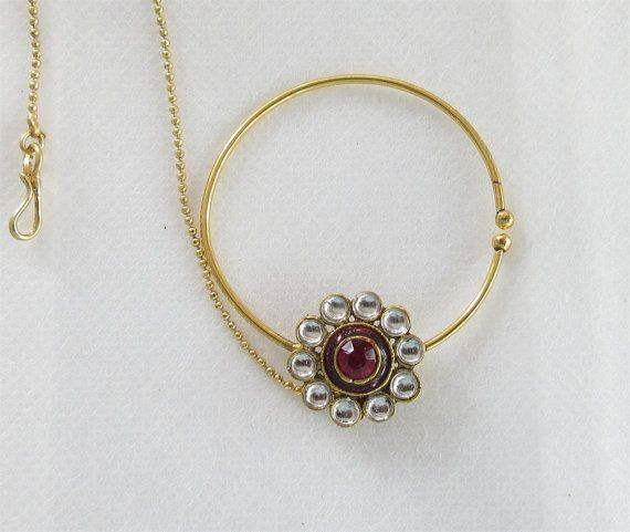 Bridal Maroon Gold Fake Nose Ring Nath Hoop With by Beauteshoppe