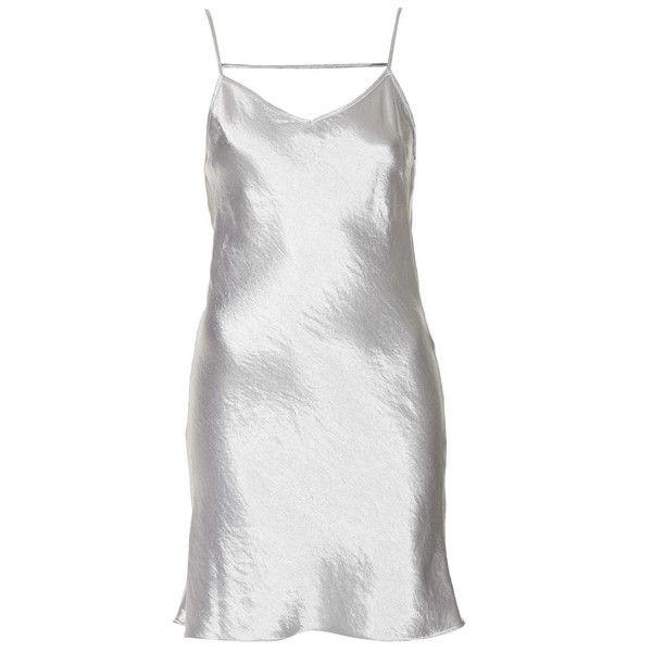 TOPSHOP Petite Satin Mini Slip Dress ($30) ❤ liked on Polyvore featuring dresses, silver, petite, satin mini dress, topshop, slip dress, topshop dresses and woven dress