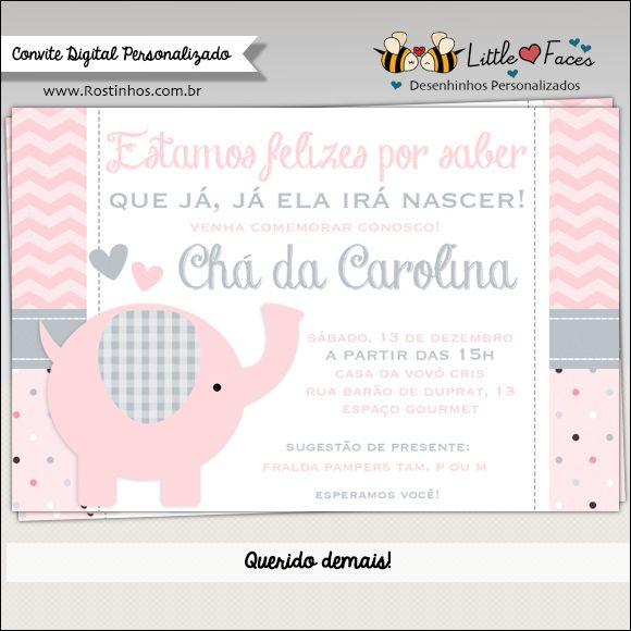 Convite Chá de Bebê Elefantinho para menino e menina. Super fofo esse tema!