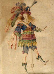 Mollier/Benserade, Ballet Royal de la Nuit, 1653: Louis XIV exécutant un pas de danse (costume design H. de Gissey)