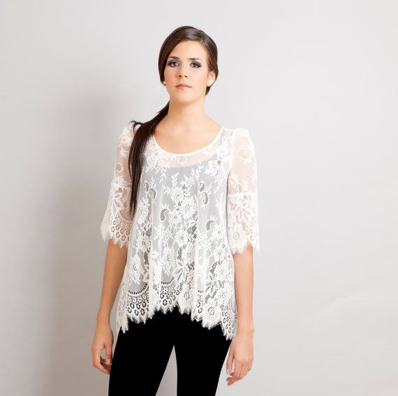 READY TO SHIP Black Swan french lace scalloped by stylemadehere, $94.99: Lace Tops, Lace Blouses, Black Swan, French Lace, So Pretty, Swan French, Lace Shirts, Ships Black, Lace Scallops