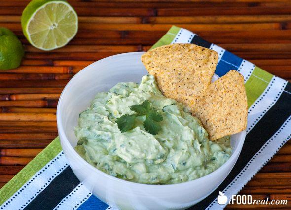 Creamy Guacamole Dip -- Creamy guacamole dip made with avocados, Greek yogurt, cilantro and jalapeno peppers.