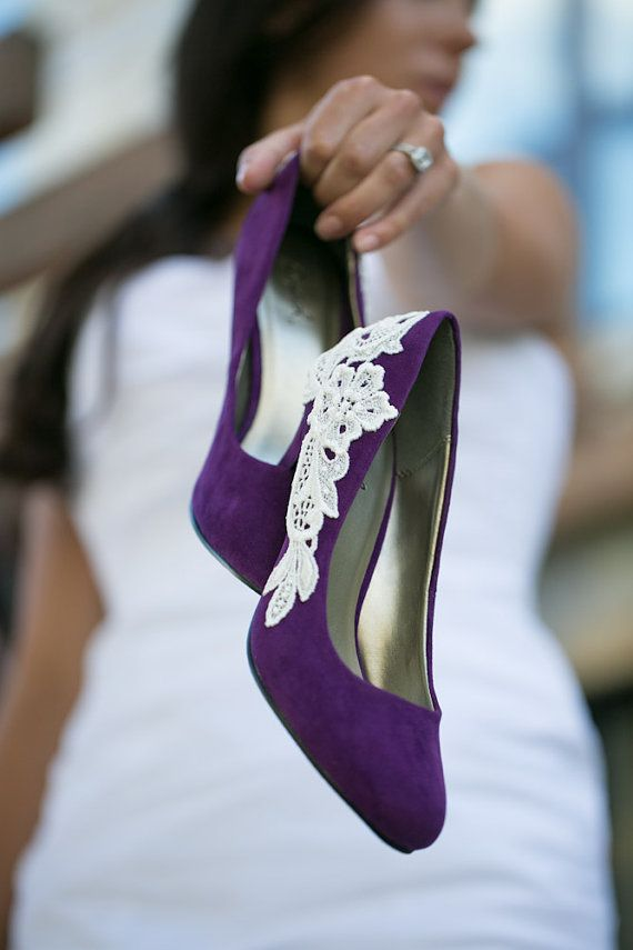 Wedding Shoes - Purple Bridal Heels/Wedding Heels with Ivory Lace. US Size 8.5. $65.00, via Etsy.