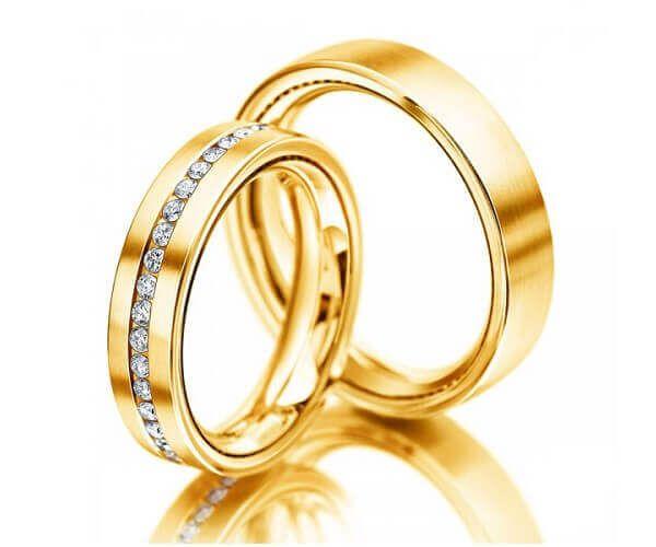 alliances de mariage en or jaune 18 cts - Anneaux Mariage .