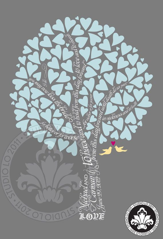 Heart Leaves SIGNATURE WEDDING tree Guest book by StudioLO2011