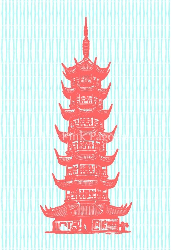 fun print for S room or bathroom.  Coral Pagoda on Turquoise Bamboo Stripe Giclee by thepinkpagoda, $30.00-