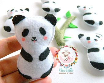 A set of Felt Panda Party Favor, Felt Panda Baby Shower Favor, Felt Panda Plush, Felt Panda Birthday Party Favor, Felt Panda Keychain