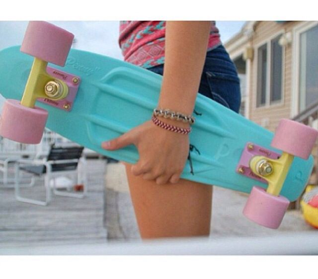 Pastel Mint Penny board, I love the Board and the Outfit.