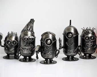 METAL SCULPTURE Mini robot ( sell all 5 ) Model Recycled Handmade Art Gift For Anniversary Birthday Christmas