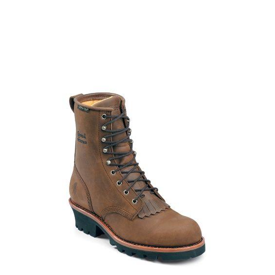 "Chippewa - WOMEN'S 8"" BAY APACHE WATERPROOF INSULATED STEEL TOE LOGGER BOOTS - $230"