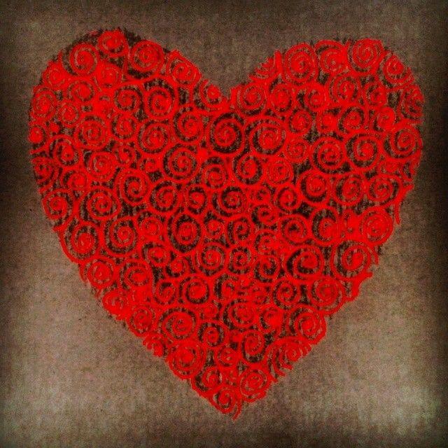 Cor - Corazón - Heart Acuarela y lápiz de color sobre cartón