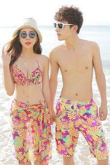 女士比基尼男士沙滩裤情侣泳衣