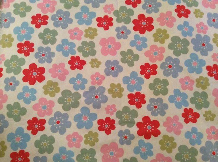 Cath Kidston Contemporary Pastel Flowers Linen Cotton Large Remnant 1.37x1.30 m #CathKidston