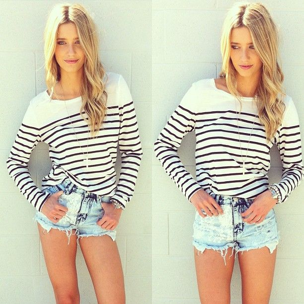 ;: Spring Summer Fashion, Dreams Closet, Summer Style, Shorts Outfits For Summer, Casual Outfits, Stripes Tees, Jeans Shorts, High Waist Shorts, Style Fashion