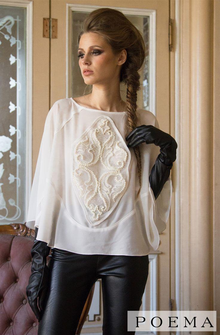 Bluza eleganta cu perle POEMA http://shop.poema.ro/poemashop